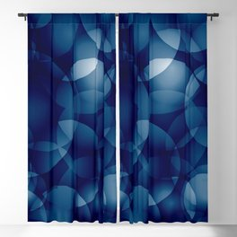 Dark intersecting translucent sea circles in bright colors with a blue glow. Blackout Curtain