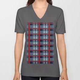 Red Line White And Blue Lumberjack Flannel Pattern Unisex V-Ausschnitt