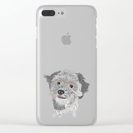 Digital Scribble Drawing of a Dog Clear iPhone Case