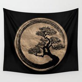 Enso Zen Circle and Bonsai Tree Gold Wall Tapestry