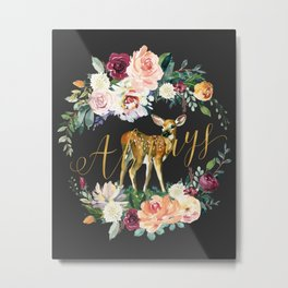 Always - Fawn - Gold/Charcoal Metal Print