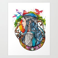 Celtic elf Art Print