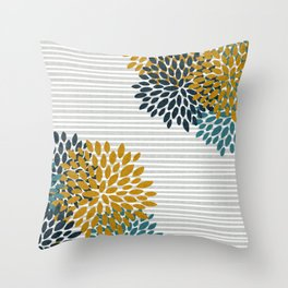 Floral Blooms and Stripes, Navy Blue, Teal, Yellow, Gray Throw Pillow