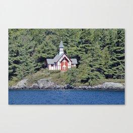 St Isaac Jogues Chapel, Hecker Island (Lake George, NY) Canvas Print
