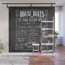 House Rules Retro Chalkboard Wall Mural