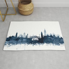 Venice City Skyline Watercolor Blue by zouzounioart Rug