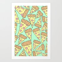 pizza Art Prints featuring Pizza by Evan Smith