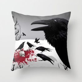 """Murder!"" She Crowed (Gray) Throw Pillow"