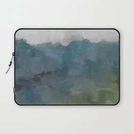 Gray Blue Navy Indigo Sage Leafy Green Sky Forest Abstract Painting, Modern Wall Art, Portrait Laptop Sleeve