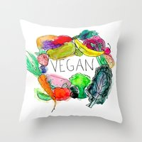 vegan Throw Pillows featuring Vegan  by BriannaCamp