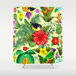 Birds and Nature Floral Exotic Seamless Pattern Shower Curtain