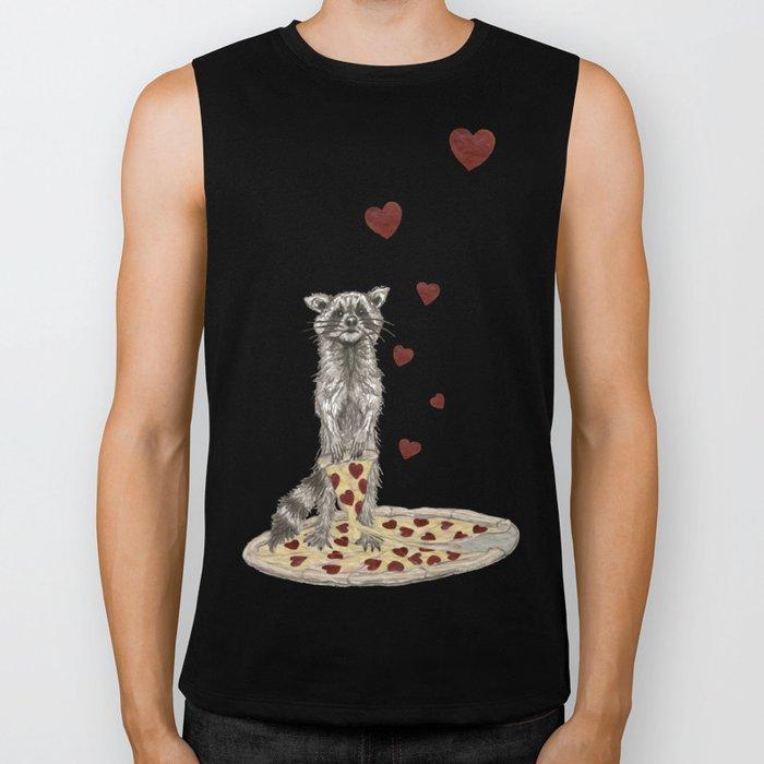 Trash Panda Hearts Pizza Biker Tank