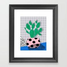 Iffy - cactus desert palm springs socal memphis hipster neon art print abstract grid pattern plant Framed Art Print