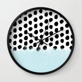 Lolita - Modern mint dots abstract painting minimal design trendy hipster decor dorm office retail  Wall Clock
