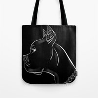 pitbull Tote Bags featuring Pitbull by transFIGure