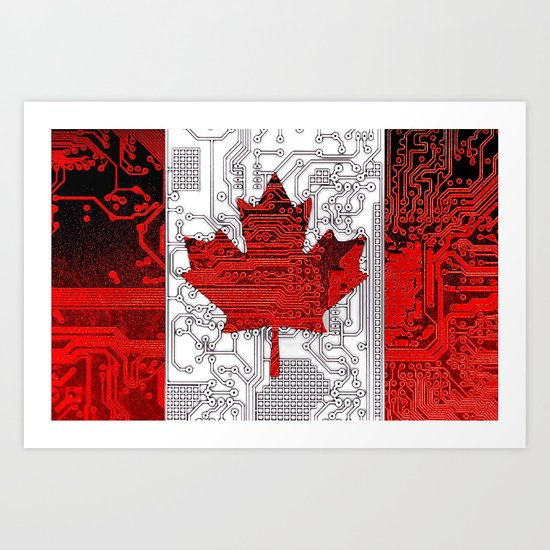 circuit board Canada (Flag) Art Print
