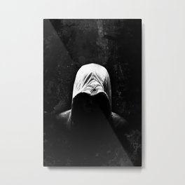 Native Assassin Hood - B&W Metal Print