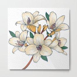Simple White Floral Metal Print