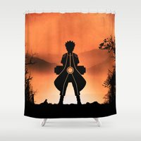 sasuke Shower Curtains featuring Naruto - Nine Tails Chakra Mode by Kesen
