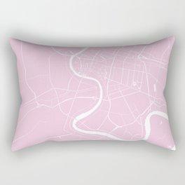 Bangkok Thailand Minimal Street Map - Pastel Pink and White Rectangular Pillow