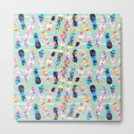 watercolor and nebula pineapples stripes design Metal Print