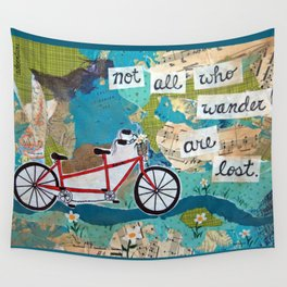 Not all who Wander are Lost - Red Tandem Bicycle Wall Tapestry