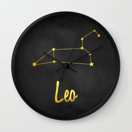 Leo Zodiac Constellation in Gold Wall Clock