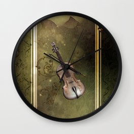 Wonderful violin with clef and key notes Wall Clock