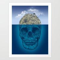 island Art Prints featuring Skull Island by Rachel Caldwell