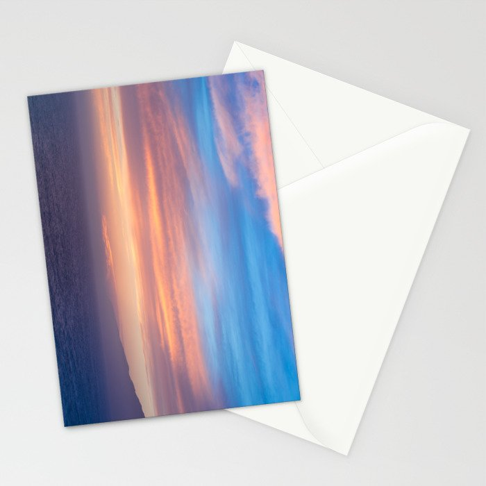 Blue Dreams Sunset - Ocean Sunset, Landscape, Scenery, Beautiful Orange Yellow Stationery Cards