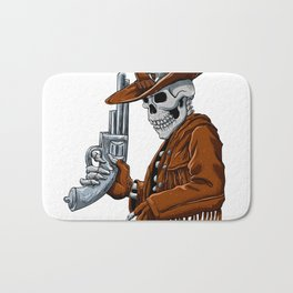 Skull cowboy.Skeleton Bath Mat
