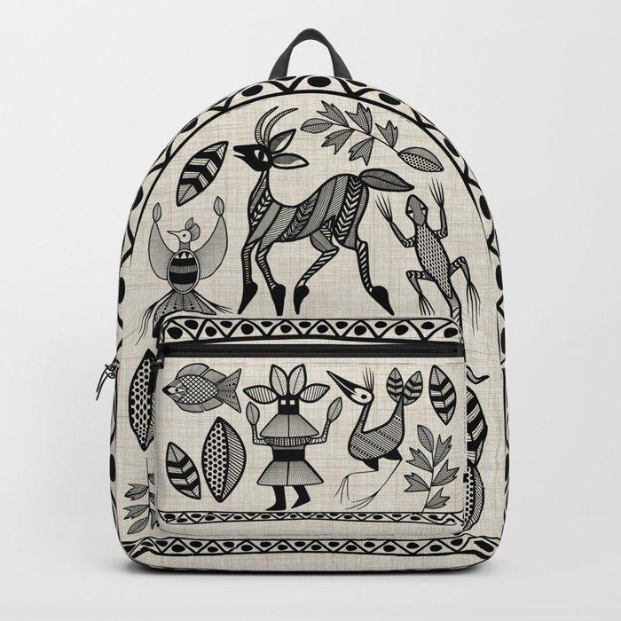 African Senufo Korhogo Tribal Ethnic Art Seamless Pattern Backpack