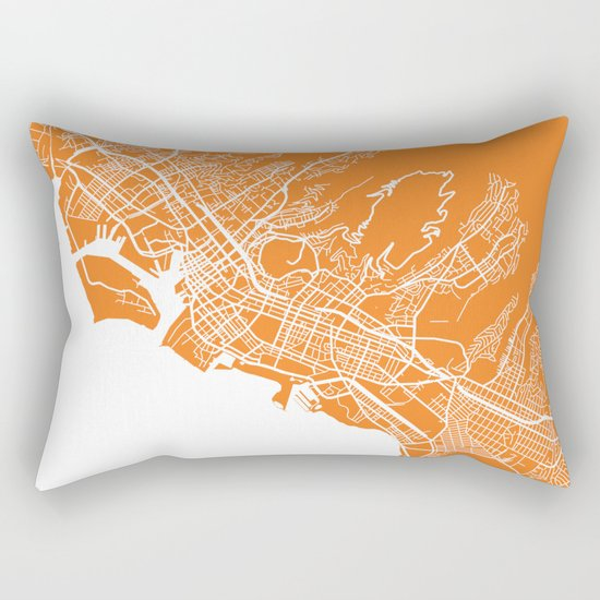 Honolulu map orange Rectangular Pillow