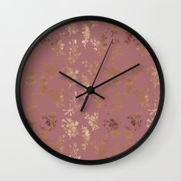 Mauve pink faux gold wildflowers illustration Wall Clock