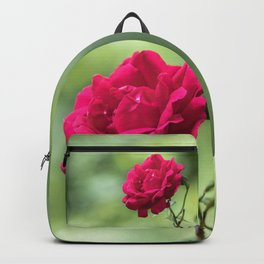 Wild red rose on green blurry background Backpack