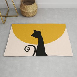Geometric Art, Sun and Moon, Cat Art, Print, Yellow, Pink and Black Rug