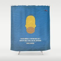 "simpson Shower Curtains featuring Homer Simpson - ""I'm not normally a praying man..."" by cowcowmoomoo"