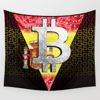 spain Wall Tapestries featuring bitcoin spain by seb mcnulty