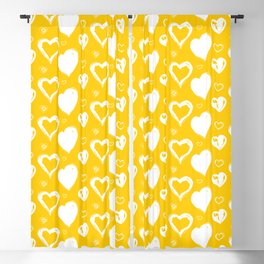 Handdrawn Hearts (Yellow/White): an exciting, fresh, fun pattern to light up your day Blackout Curtain