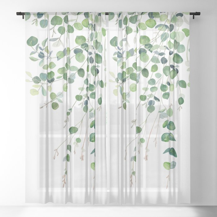 Eucalyptus Watercolor Sheer Curtain