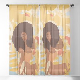 Daydreamer Goddess #art print Sheer Curtain