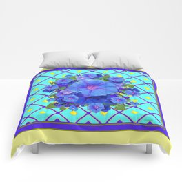 Yellow Turquois Purple Blue Floral Pattern Comforters
