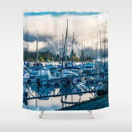 Early Boat Fog // Lake Dillon Colorado Nautical Harbor Docking of the Boats Shower Curtain