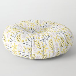 Yellow Floral on White Floor Pillow