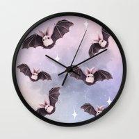 bat Wall Clocks featuring ✞ Bat ✞ by Lili Um