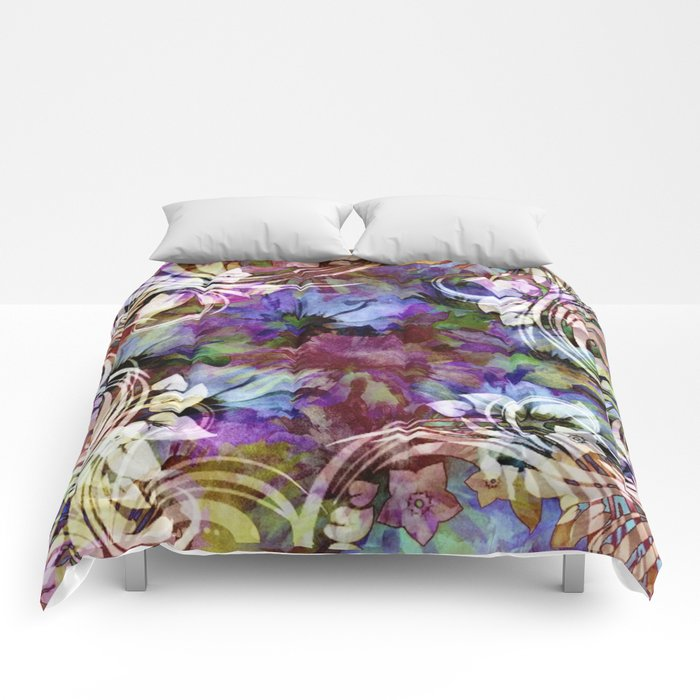 Fancy Midnight Floral Comforters