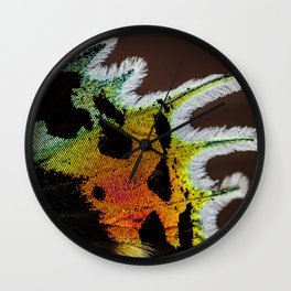Wing of a Madagascan Sunset Moth, Shimmering with the Vivid Imagination of Nature Wall Clock