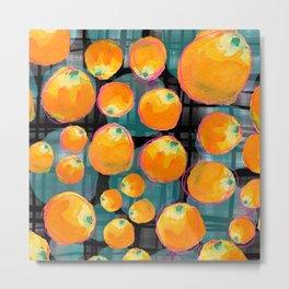 Oranges on Black Metal Print