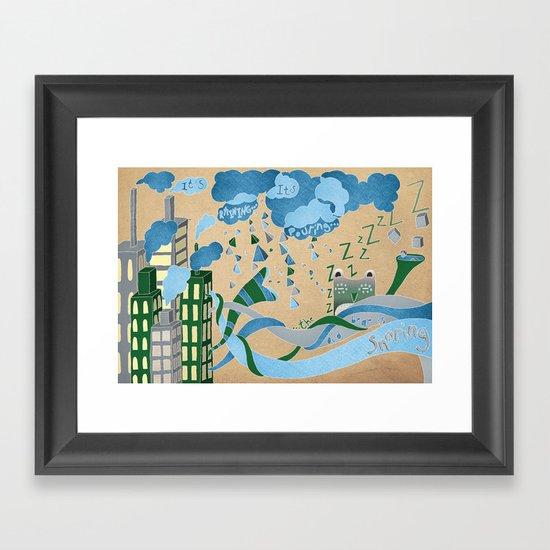 It's Raining its pouring Framed Art Print