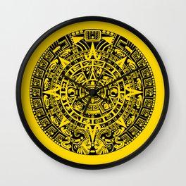 Mayan Calendar // Yellow Wall Clock
